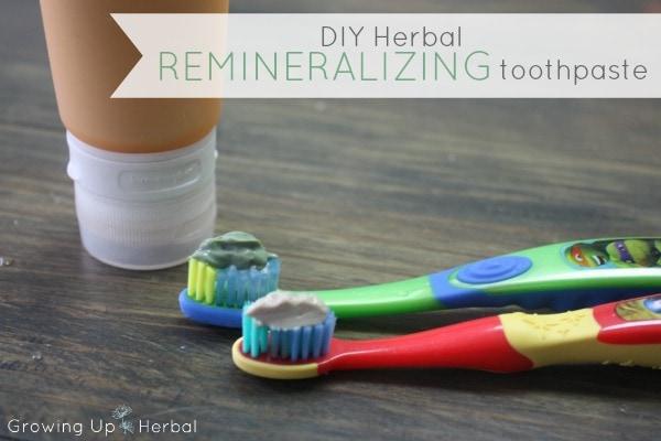 DIY Herbal Remineralizing Toothpaste | GrowingUpHerbal.com - a OOAK remineralizing toothpaste using herbs