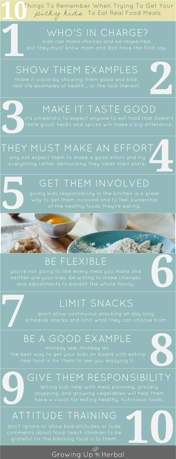 10 Tips To Get Picky Kids To Eat Real Food Meals | GrowingUpHerbal.com | 10 tips for dealing with picky kids over eating healthy foods!