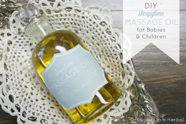 DIY: Sleepytime Massage Oil For Babies and Children | GrowingUpHerbal.com | Make an herbal night time massage oil to sooth your little one off to sleep.
