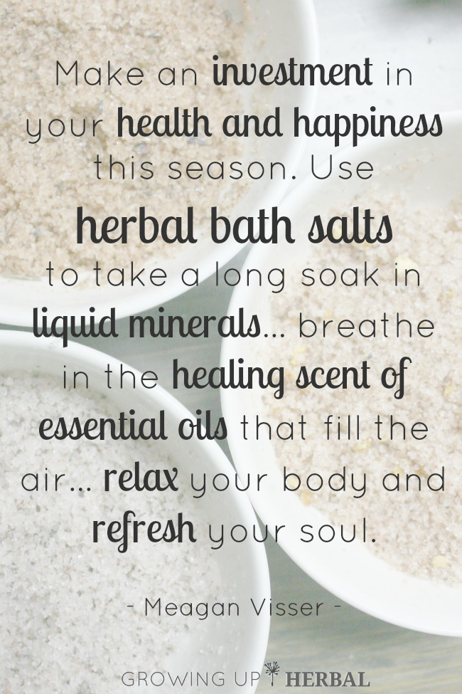 2014 DIY Holiday: Herbal Bath Salts | GrowingUpHerbal.com | Three blends of herbal bath salts sure to make for a great handmade holiday gift!