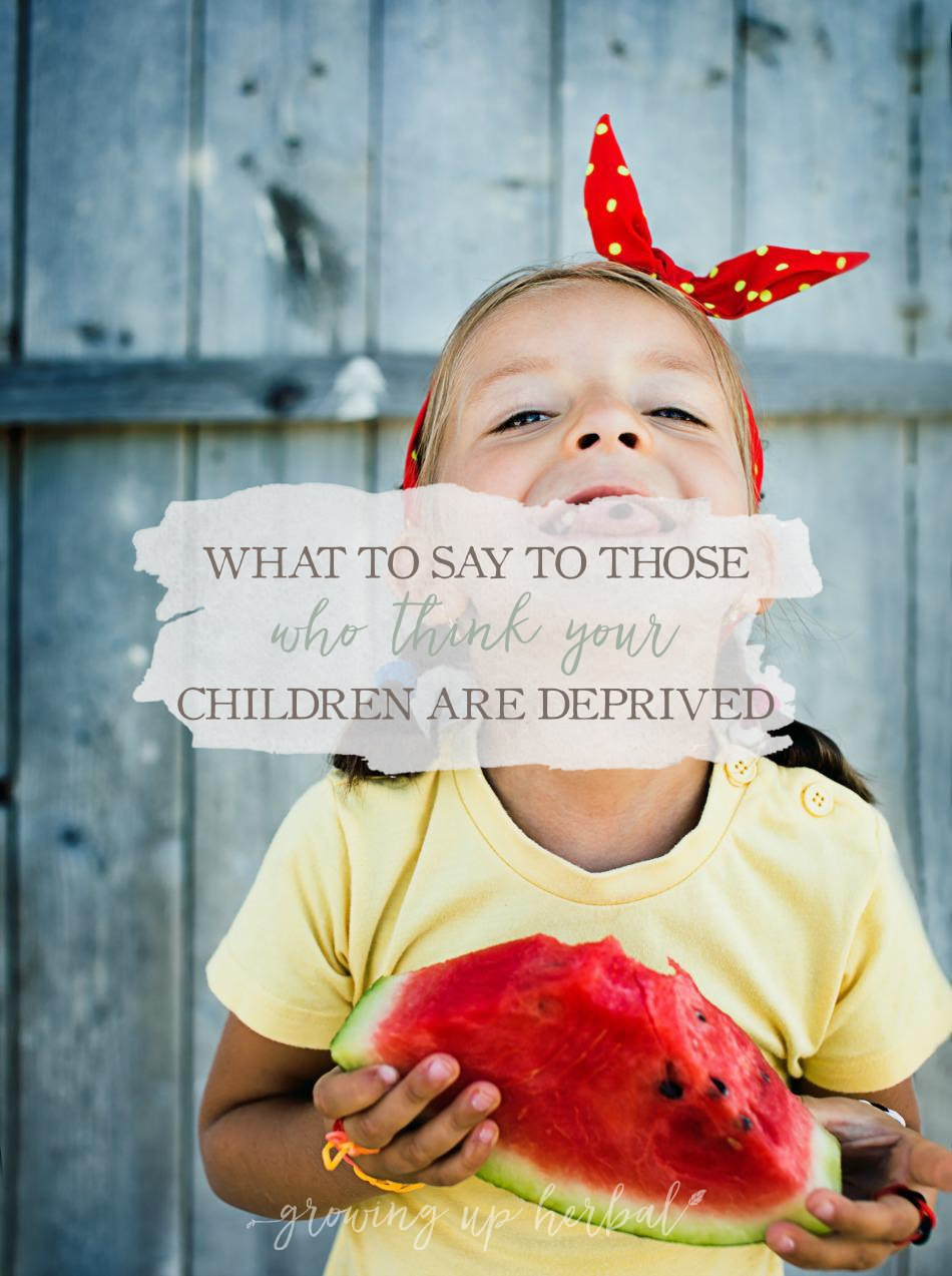 What to Say to Those Who Think Your Children Are Deprived | Growing Up Herbal | Do people like to think your kids are deprived because you feed them healthy foods? If so, here's how to respond.