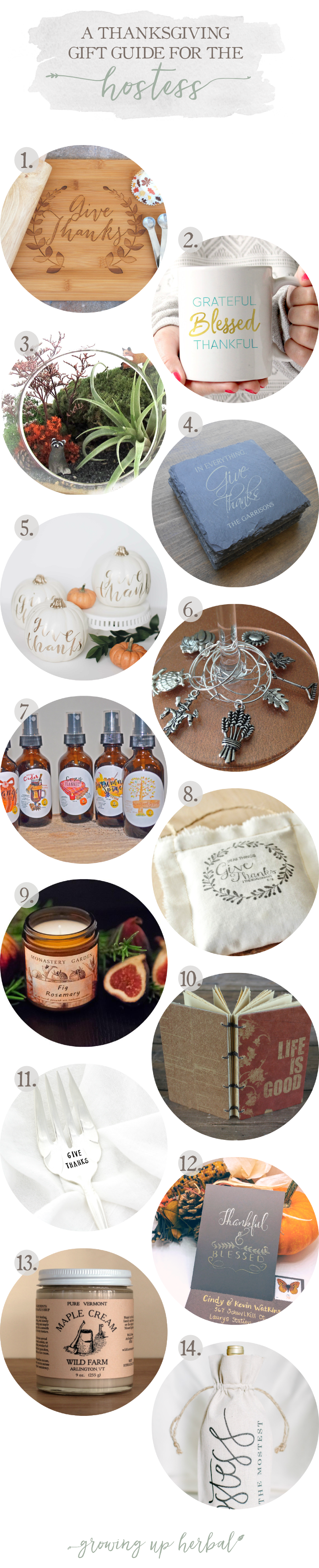 "2016 Thanksgiving Gift Guide For The Hostess | Growing Up Herbal | Tell your Thanksgiving Day dinner hostess, ""Thank you,"" with a meaningful handmade gift from this year!"