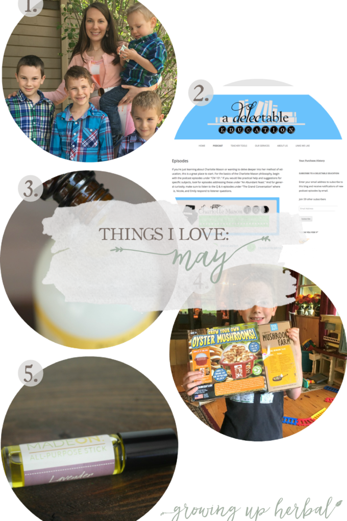 Things I Love: May 2017 | Growing Up Herbal | Mother's Day happenings, tick repellant, a Charlotte Mason podcast, Judah's 9th birthday, and more!