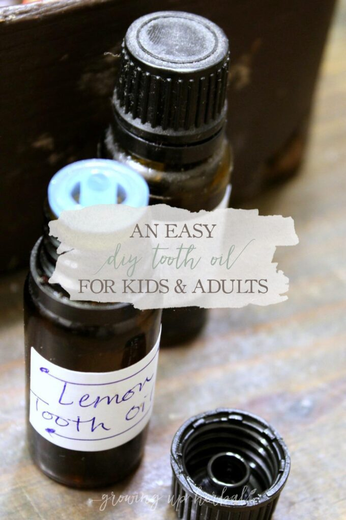 An Easy DIY Tooth Oil for Kids & Adults | Growing Up Herbal | Keep your family's teeth clean and healthy without spending tons of time making homemade toothpastes. This DIY tooth oil is the answer for busy moms.