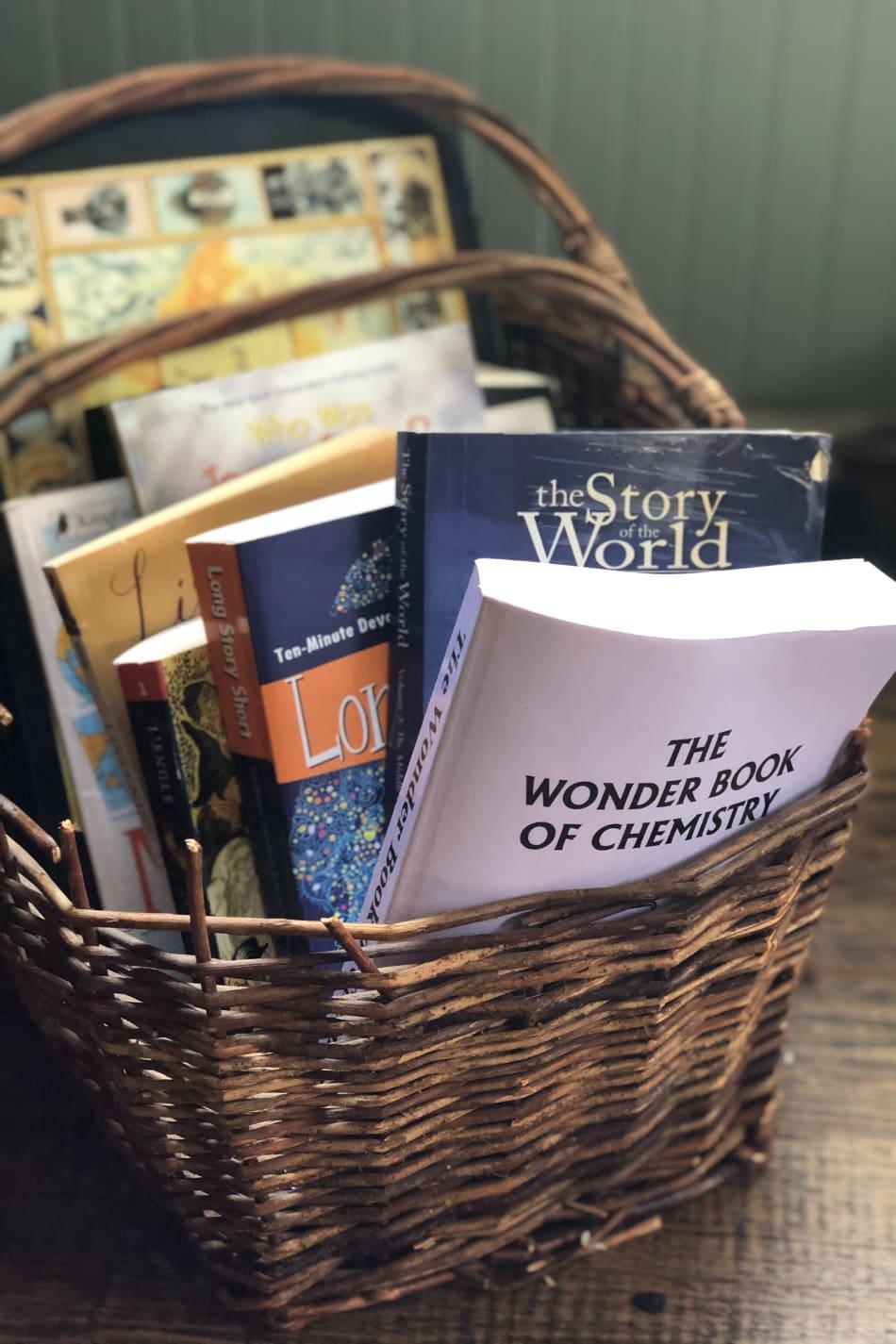 basket of school books