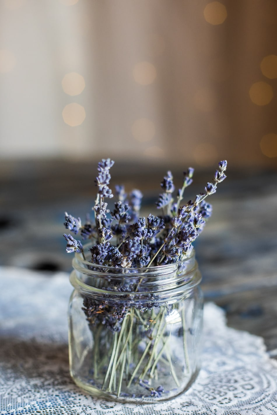 sprigs of lavender in jar