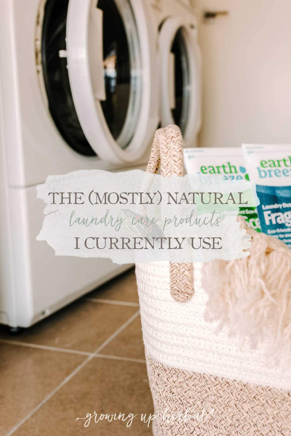 natural laundry care products in a basket in laundry room